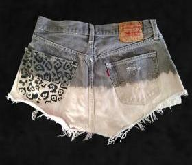 Serge And Destroy Cheetah Pocket Levi's Shorts Grey Pink 32W